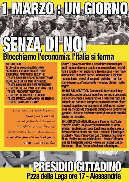 Primo Marzo 2010: anche ad Alessandria i migranti rivendicano diritti