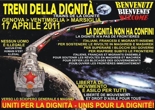 Appello – 17 Aprile 2011: Genova – Ventimiglia – Marsiglia. Treni della dignità. Trains de la dignitè
