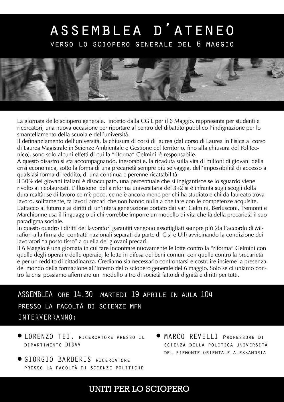 Assemblea d'Ateneo verso lo sciopero del 6 Maggio