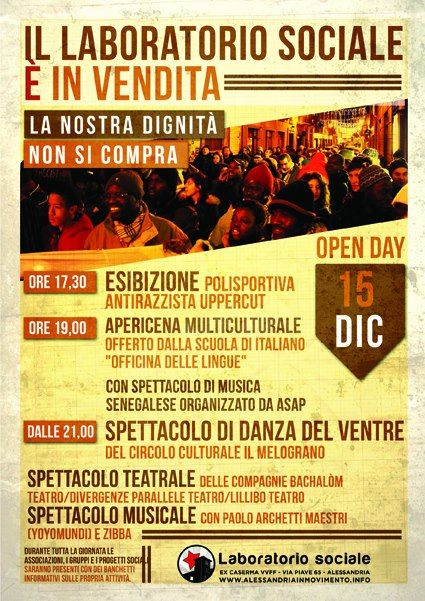 Sabato 15 Dicembre Open Day contro la vendita del Laboratorio Sociale