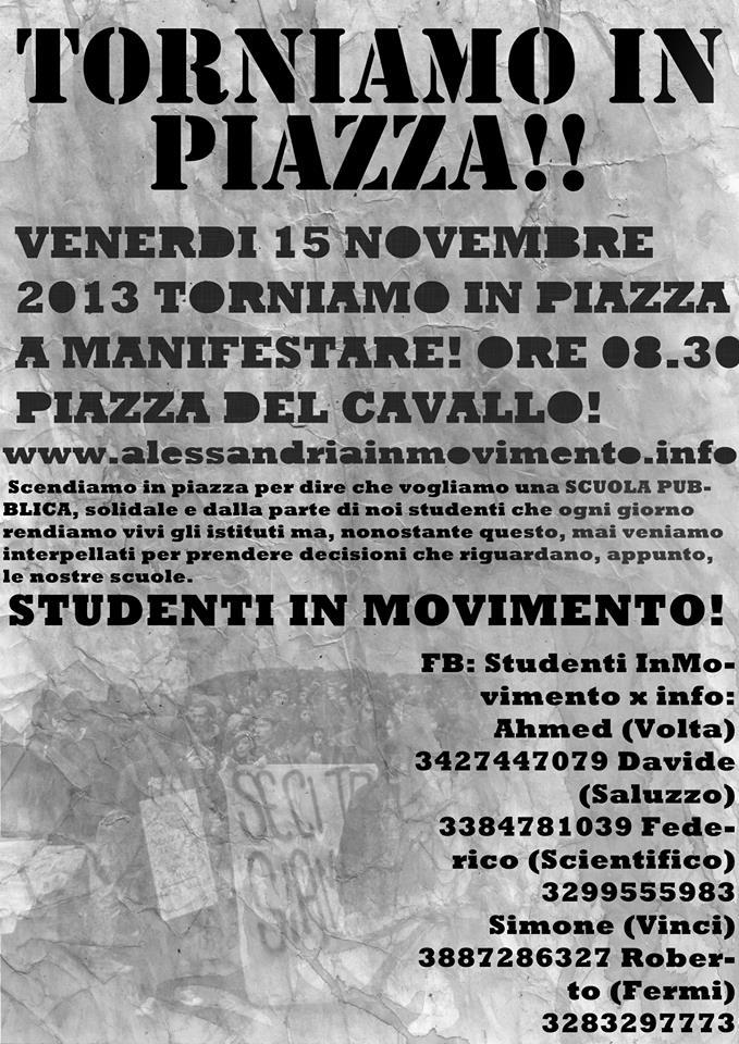 Venerdi 15 Novembre gli studenti tornano in piazza