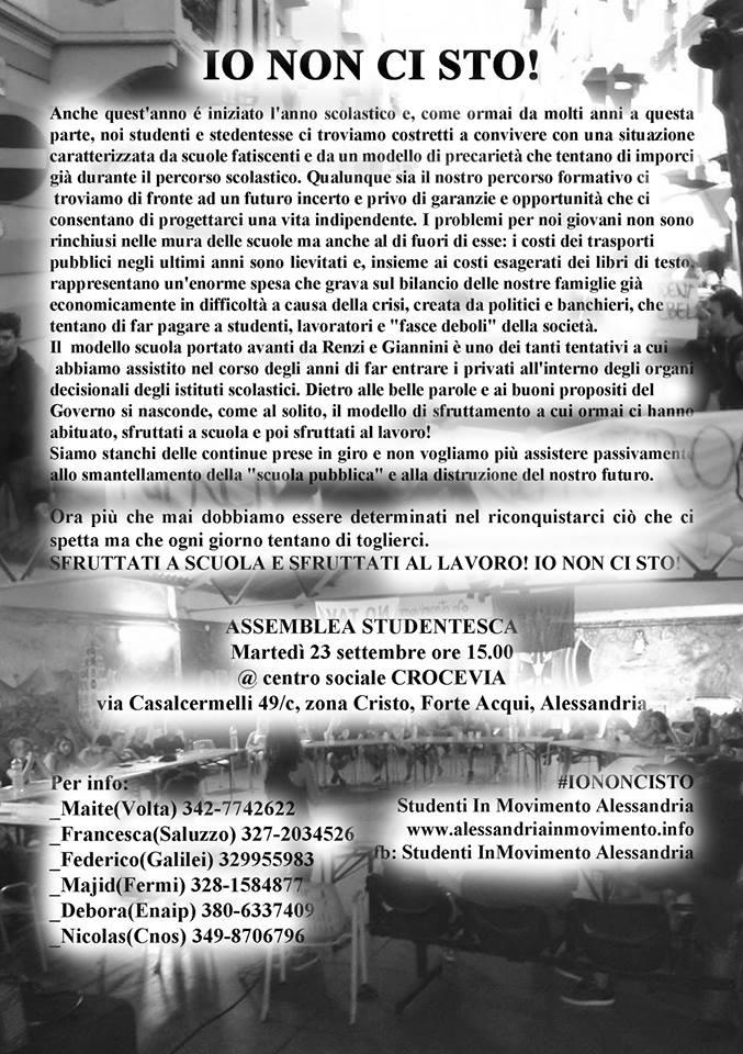 Prima assemblea studentesca ad Alessandria #Iononcisto