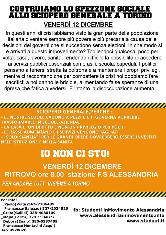 Costruiamo lo spezzone sociale allo sciopero generale a Torino