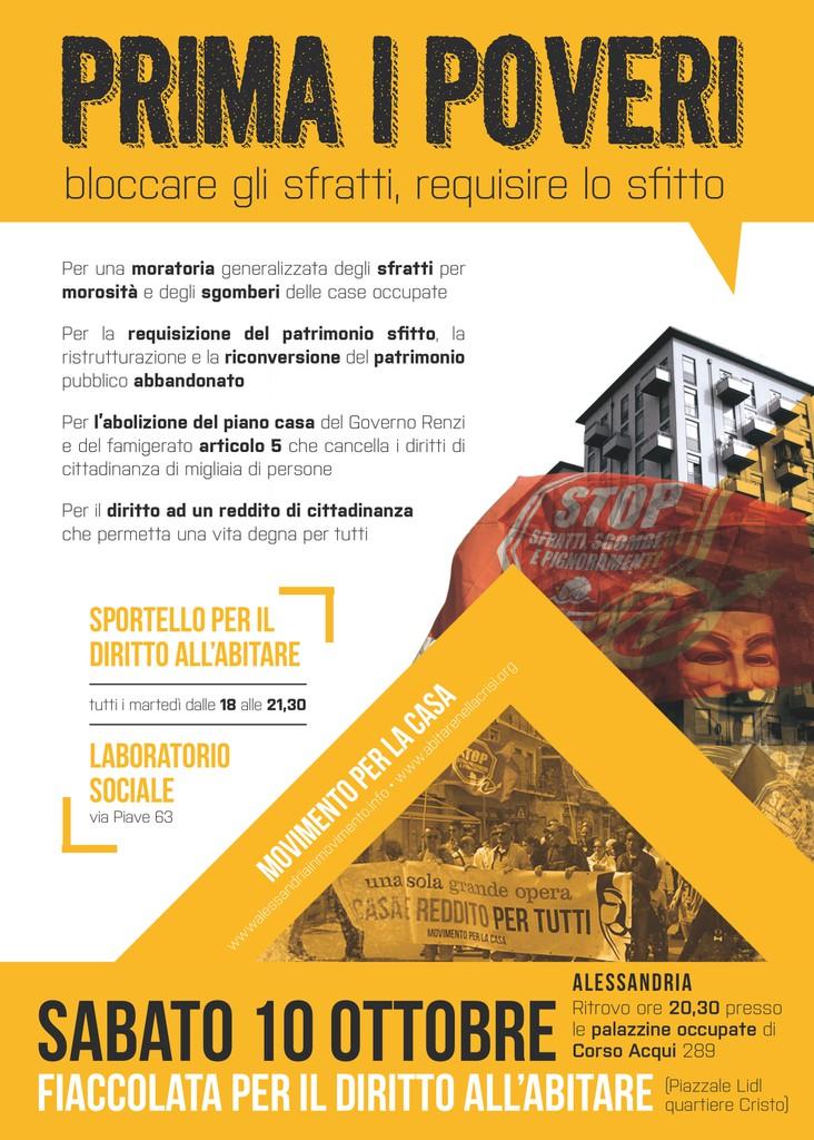 Sabato 10 ottobre fiaccolata per il diritto all'abitare ad Alessandria