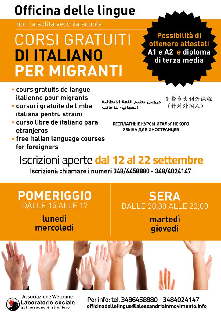 Riparte a settembre la scuola di italiano per migranti