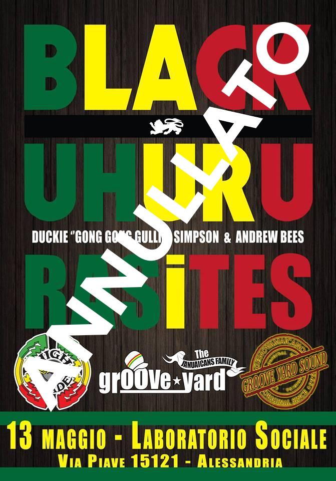 Concerto annullato – Venerdì 13 maggio Black Uhuru e Rasites al Laboratorio Sociale