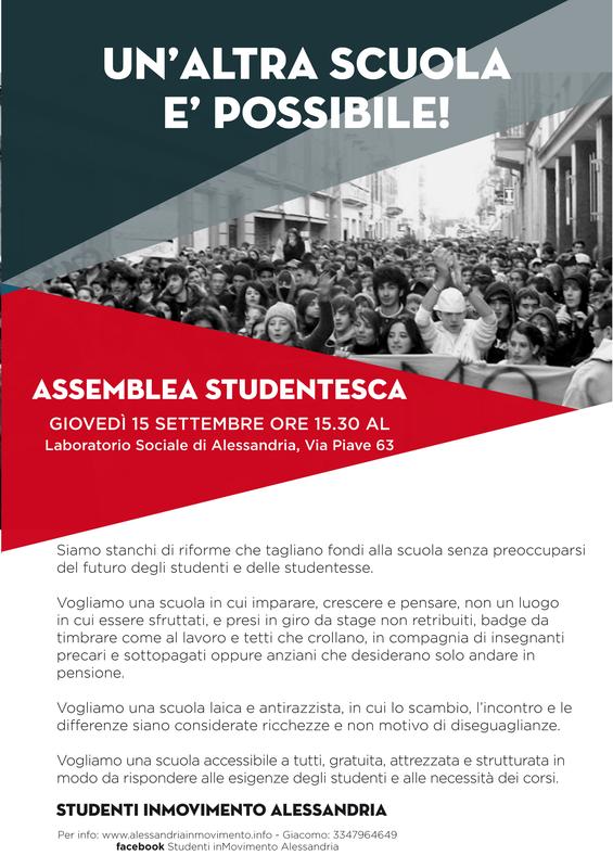 Giovedì 15 settembre assemblea studentesca al Laboratorio Sociale