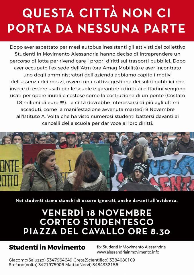 Venerdì 18 novembre manifestazione studentesca ad Alessandria