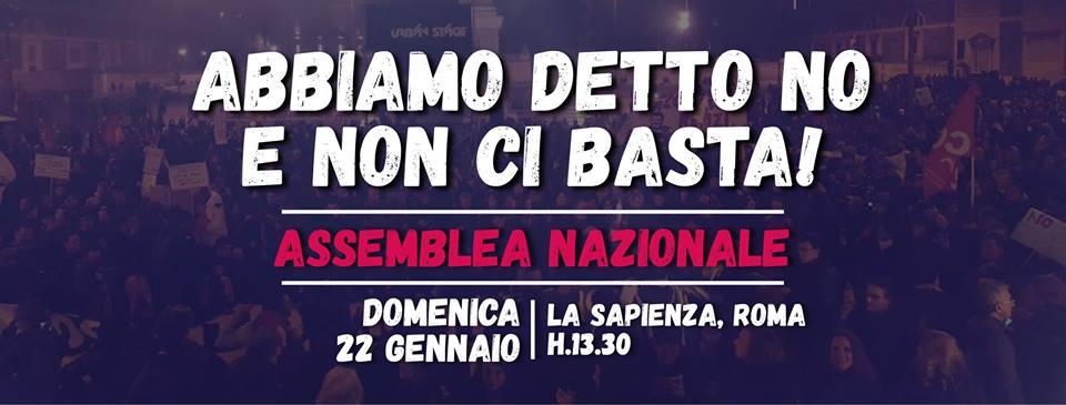 Abbiamo detto NO e non ci basta! Assemblea nazionale a Roma