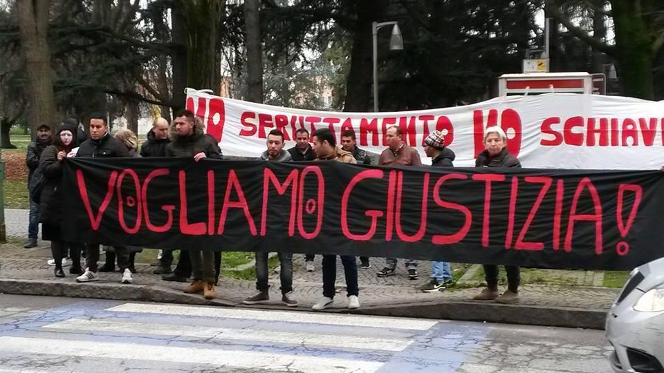 Presidio davanti al tribunale in solidarietà con attivisti e braccianti Castelnuovo