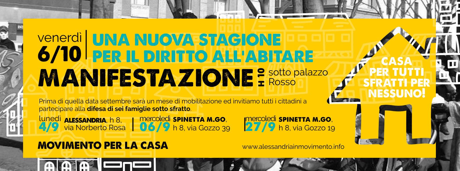 Una nuova stagione per il diritto all'abitare. Venerdì 6 ottobre manifestazione davanti a Palazzo Rosso