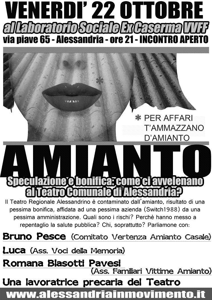 La tragedia dell'amianto, da Casale Monferrato al Teatro di Alessandria