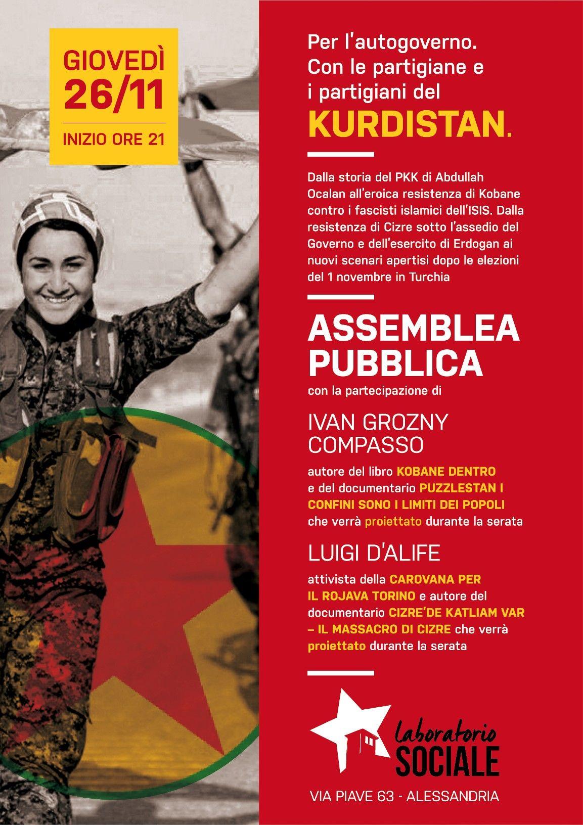 Con i partigiani del Kurdistan – giovedì 26 novembre al Laboratorio Sociale