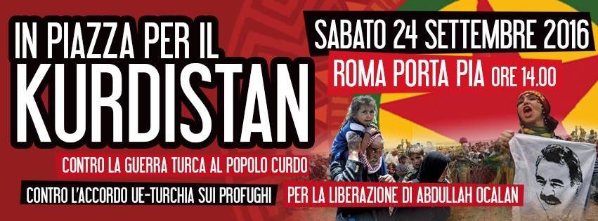 Sabato 24 settembre manifestazione nazionale a Roma a sostegno del popolo curdo