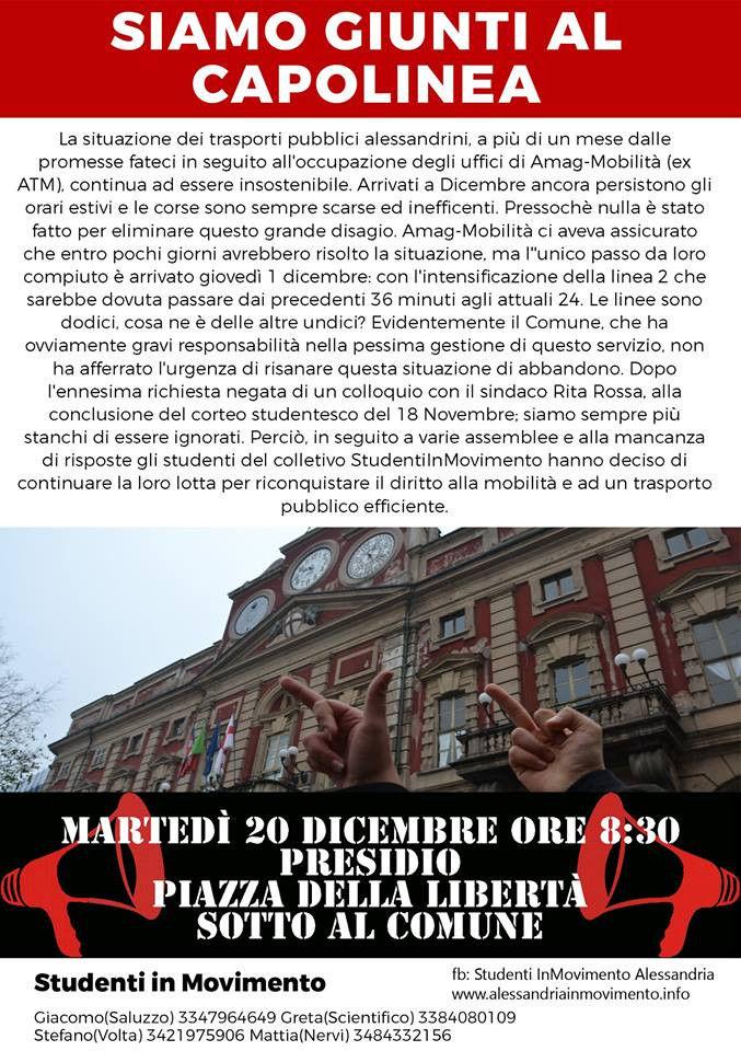Martedì 20 dicembre presidio studentesco per il diritto ai trasporti