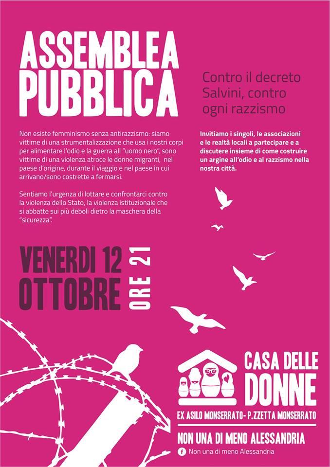 12.10.2018 – Assemblea pubblica contro il DL Salvini e ogni forma di razzismo