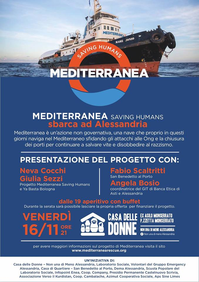 16.11.2018 – Mediterranea Saving Humans sbarca ad Alessandria
