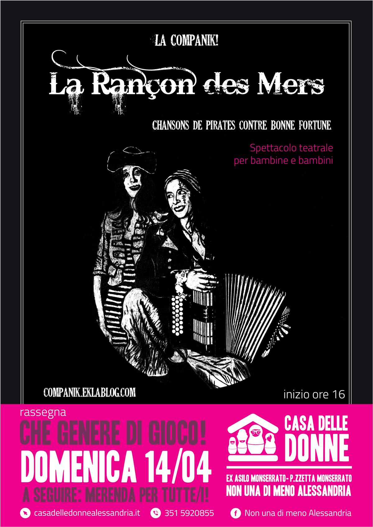 """14.4.2019 – """"La rançon des mers"""" spettacolo teatrale per bambine/i tra musica e piratesse!"""