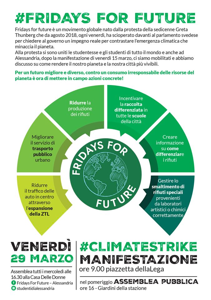 Venerdì 29 marzo #climatestrike ad Alessandria