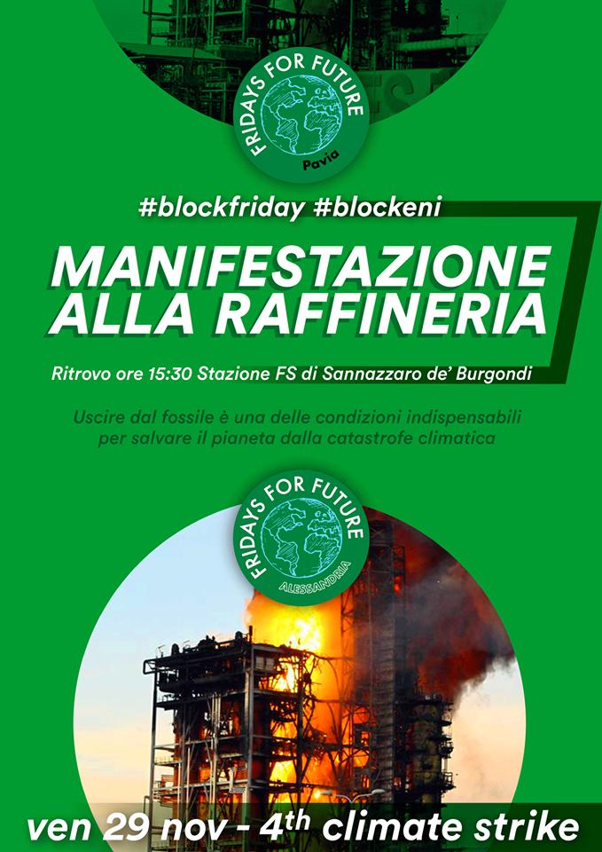 Venerdì 29 novembre manifestazione alla raffineria Eni di Sannazzaro
