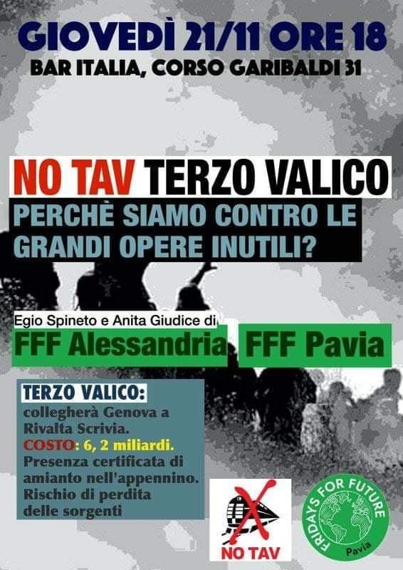 Il 21 novembre assemblea contro le grandi opere a Pavia