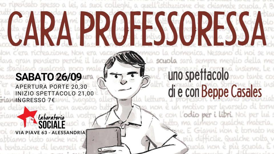 """Sabato 26 settembre """"Cara Professoressa"""" al Laboratorio Sociale"""