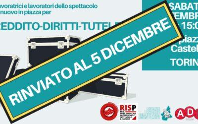 Rinviata al 5 dicembre la piazza di Torino dei lavoratori dello spettacolo