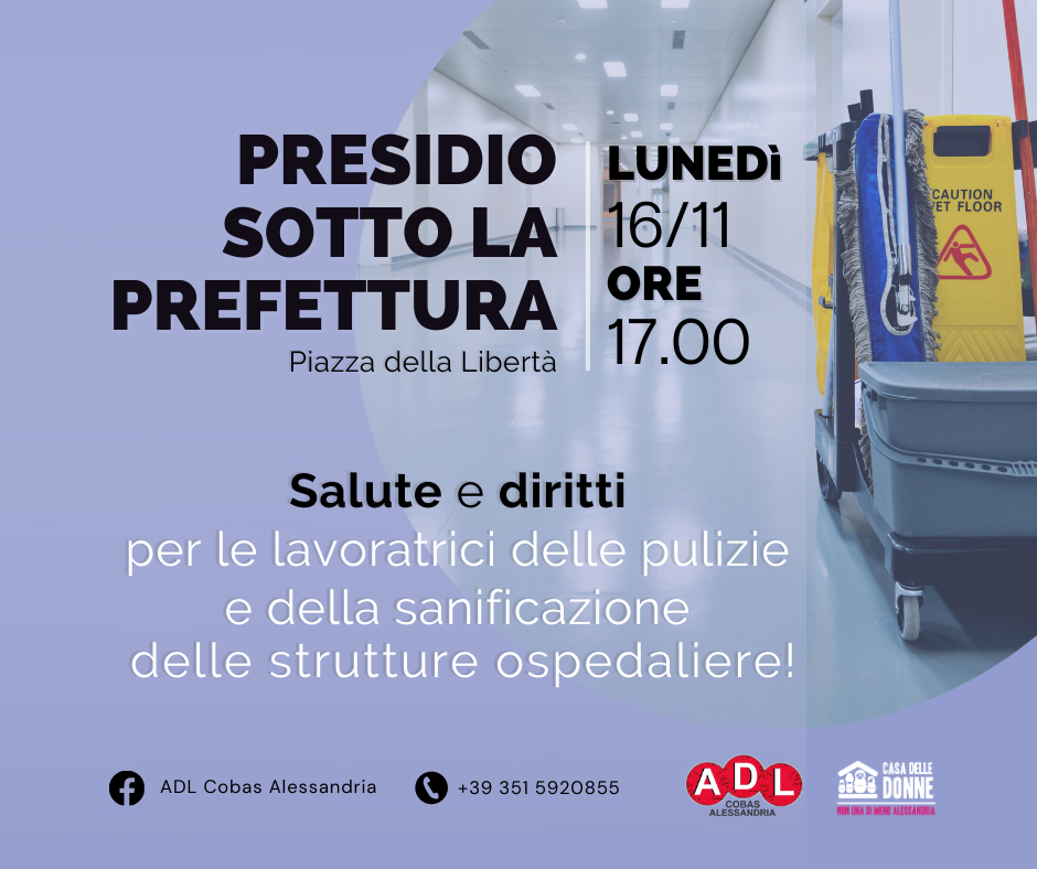Salute e diritti per le lavoratrici delle pulizie e della sanificazionedelle strutture ospedaliere!