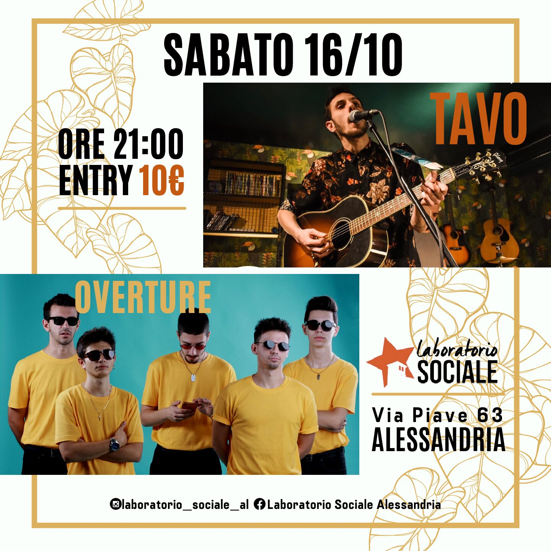 Sabato 16 ottobre, Tavo e gli Overture in concerto